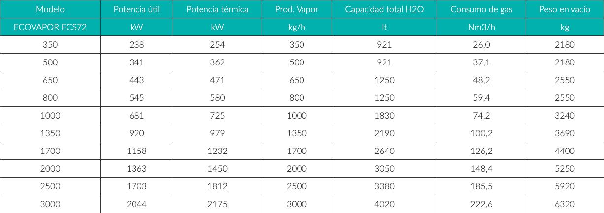 Características Técnicas Ecovapor
